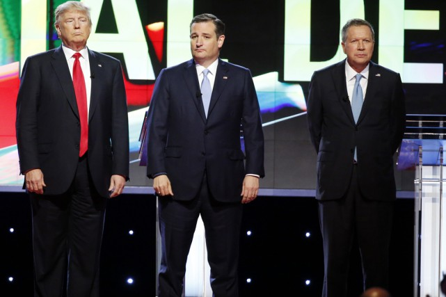 Donald Trump, Ted Cruz et John Kasich, lors... (Archives AP, Wilfredo Lee)