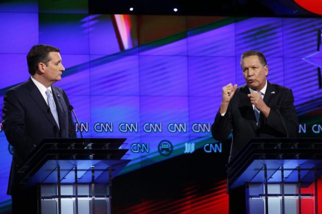 Ted Cruz et John Kasich lors d'un débat... (PHOTO AP)
