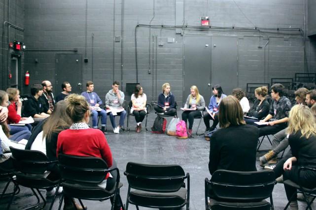 Au cours de leur stage, les 12 auteurs... (PHOTO FOURNIE PAR LE THÉÂTRE LE CLOU)