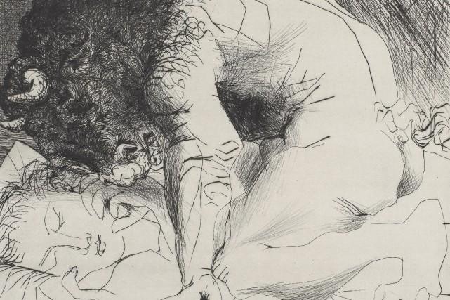 Vignette de Minotaure caressant une dormeuse, de Pablo... (Succession Picasso/SODRAC (2015))