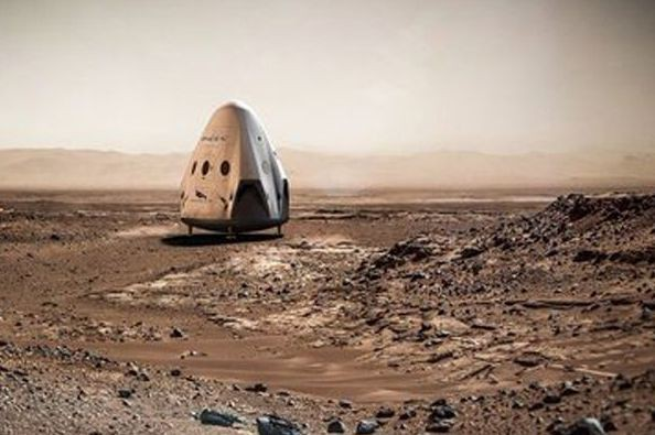 Le rendu d'un artiste montre une capsule Dragon... (IMAGE FOURNIE PAR SPACEX, VIA ASSOCIATED PRESS)