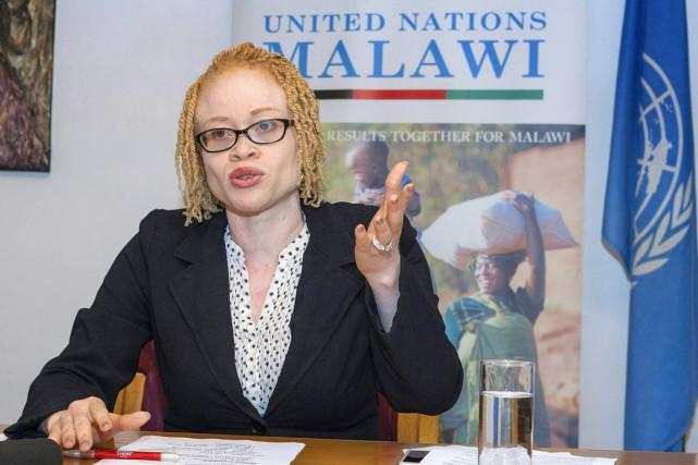 Ikponwosa Ero, une Nigériane elle-même albinos et experte... (PHOTO AMOS GUMULIRA, AFP)