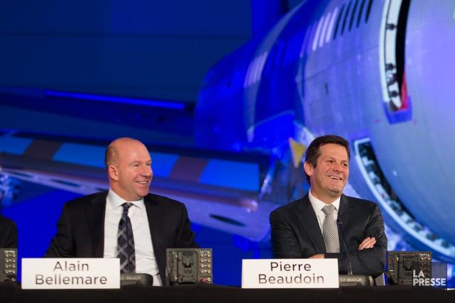 Alain Bellemare, PDG de Bombardier, et Pierre Beaudoin,... (Photo Ivanoh Demers, La Presse)