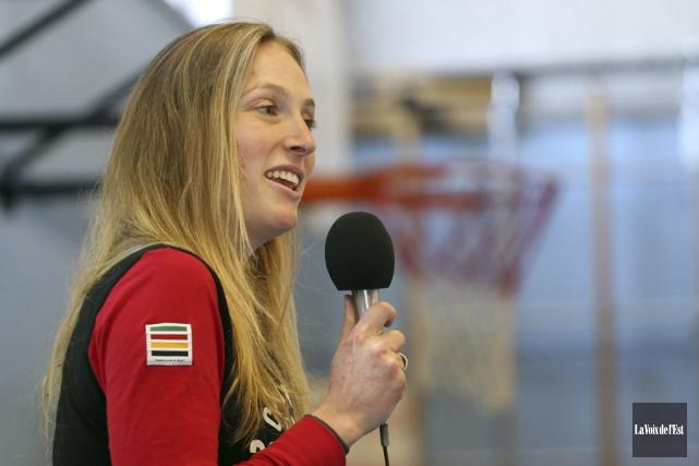 L'olympienne Ariane Lavigne a livré un message d'action,... (Christophe Boisseau-Dion, La Voix de l'Est)
