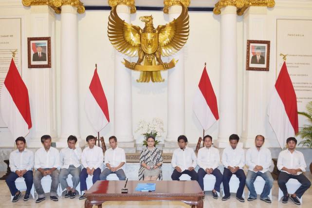 La ministre indonésienne des Affaires étrangères, Retno Marsudi,... (PHOTO ADEK BERRY, AFP)