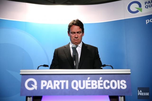 Pierre Karl Péladeau était très ému au moment... (Photo Martin Chamberland, La Presse)