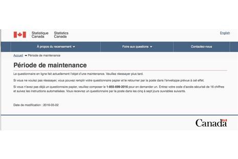 Mardi soir, le site Web du recensement canadien...