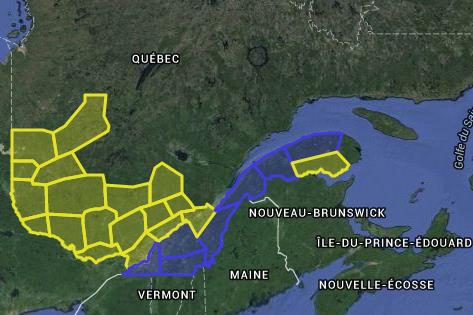 Les zones en jaune sont celles où le... (Courtoisie SOPFEU)