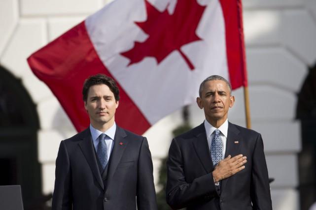 Justin Trudeau et Barack Obama lors de la... (AP, Andrew Harnik)