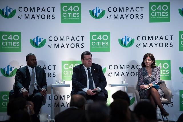 Le maire d'Atlanta Kasim Reed, celui de Montréal... (PHOTO NICHOLAS KAMM, AFP)