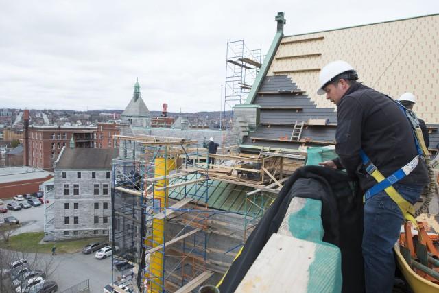 Les travaux de restauration de la Cathédrale Saint-Michel,... (Spectre Média, Julien Chamberland)