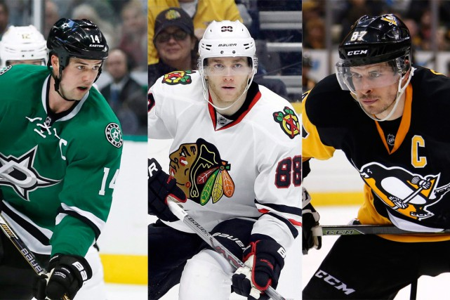 Jamie Benn, Patrick Kane et Sidney Crosby... (PHOTOS ARCHIVES ASSOCIATED PRESS)