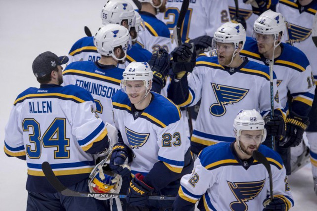 Les Blues ont gagné 4-1 face aux Stars,... (PHOTO JEROME MIRON, USA TODAY)
