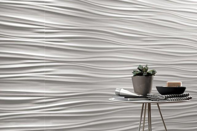 Les carreaux tridimensionnels «ribbon», de la collection 3D... (PHOTO FOURNIE PAR CIOT)