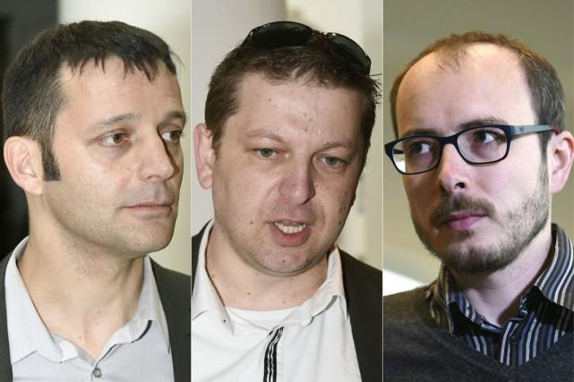 De gauche à droite: Edouard Perrin, Raphael Halet... (PHOTOS JOHN THYS, AFP)