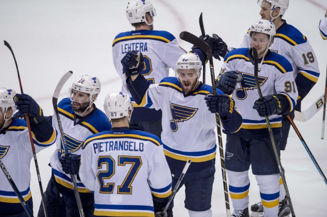 Les Blues ont dû attendre le septième match... (Photo Jerome Miron, USA Today)