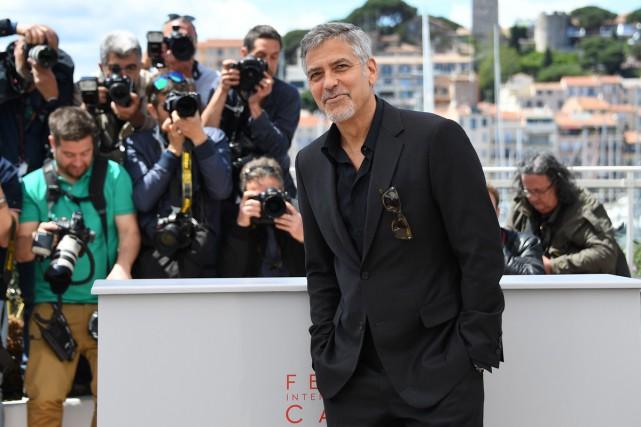 George Clooney lors de la conférence de presse... (PHOTO AFP)