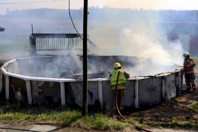 Les pompiers de Saint-Germain-de-Grantham sont intervenus pour un... (Collaboration spéciale, Éric Beaupré)