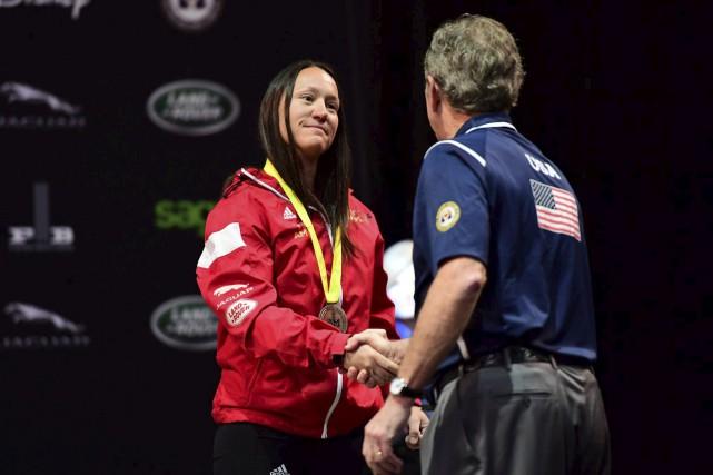 L'une des médailles remportées par Natacha Dupuis en... (Courtoisie, Phil Ellsworth/ESPN Images)