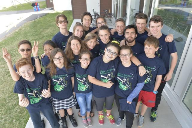 Ces 20 jeunes de l'école Montessori à Magog... (Spectre Média, Maxime Picard)