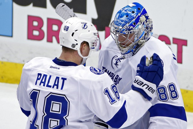 Andrei Vasilevskiy a terminé la rencontre avec 24arrêts.... (Gene J. Puskar, Associated Press)