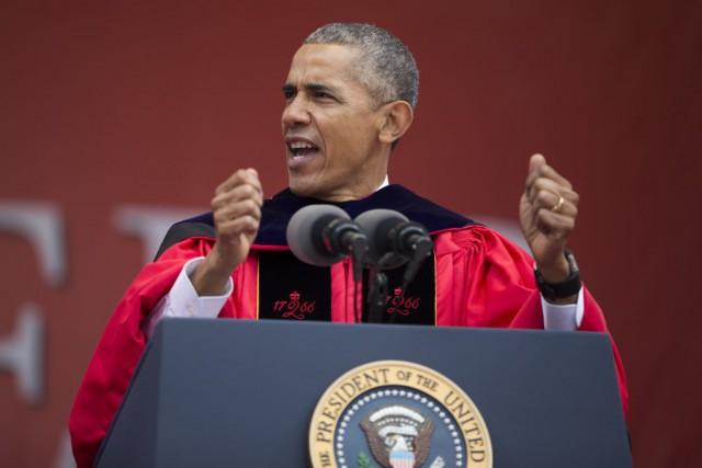 Barack Obama a participé à lacérémonie de remise... (PHOTO EVAN VUCCI, AP)