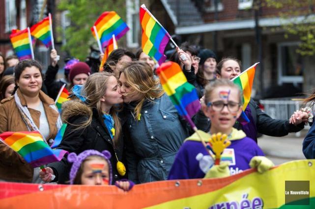 La marche contre l'homophobie et la transphobie se... (Olivier Croteau, Le Nouvelliste)