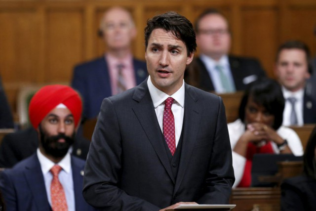 Justin Trudeau aux Communes, mercredi... (Photo CHRIS WATTIE, PC)