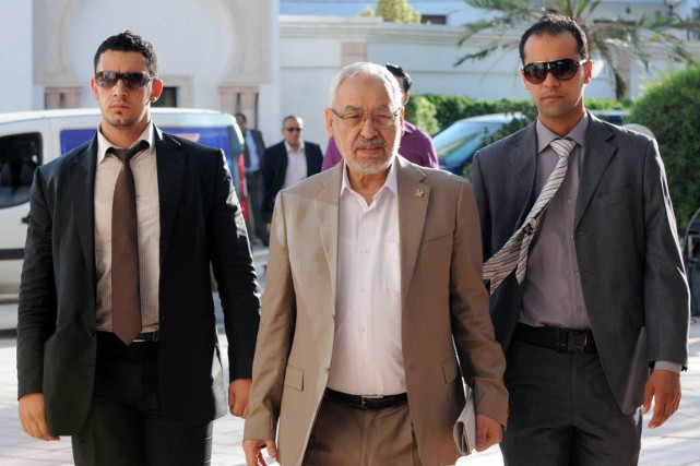 Le président d'Ennahda Rached Ghannouchi, à Tunis en... (PHOTO  SALAH HABIBI, ARCHIVES AFP)