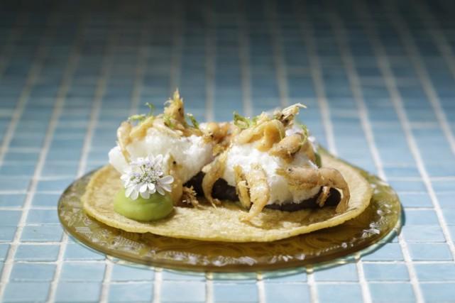 Taco de crevettes de Barbate, au restaurant Hoja... (Photo tirée du site web du restaurant)