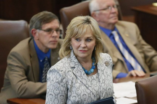 La gouverneure Mary Fallin au parlement de l'Oklaoma,... (Photo Sue Ogrocki, AP)