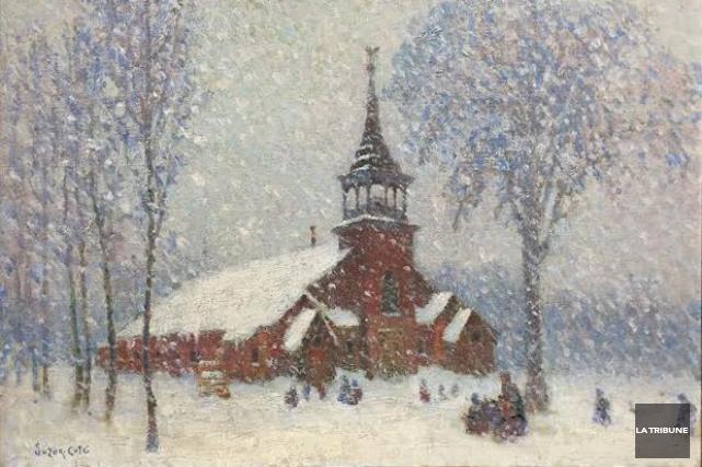 Peinte en 1913, La vieille église de Sherbrooke... (Archives, La Tribune)
