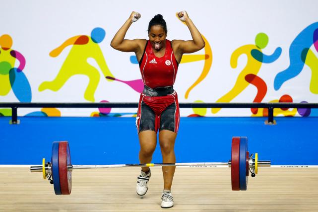 L'haltérophile québécoise Kristel Ngarlema terminé quatrième aux Jeux... (Photo Julio Cortez, archives AP)