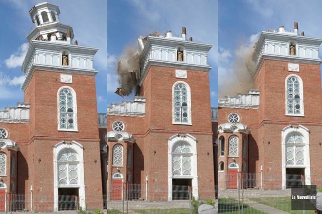 Le clocher de l'église de Pierreville a déjà... (Sylvain Mayer, Le Nouvelliste)