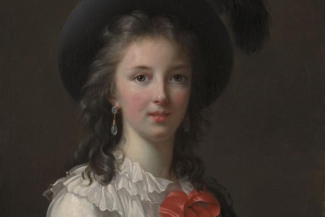 Détail de Autoportrait «aux rubans cerise», v. 1782.... (Kimbell Art Museum)