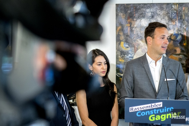 Le candidat à la direction du Parti québécois,... (PHOTO MARCO CAMPANOZZI, LA PRESSE)