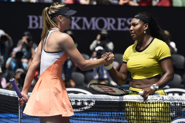 Maria Sharapova etSerena Williams à Melbourne en janvier... (PHOTO AP)