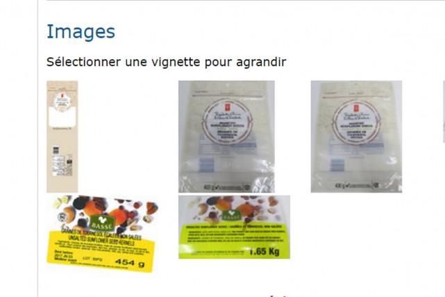 Certains produits des marques Bassé et Le Choix du Président contenant des... (Photo site web Santé Canada)