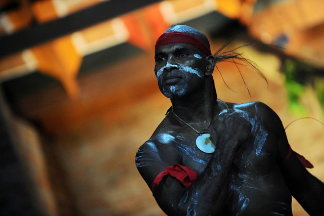 Le danseur et chorégraphe aborigène australien Albert Davis... (PHOTO Ishara S. KODIKARA, ARCHIVES AFP)
