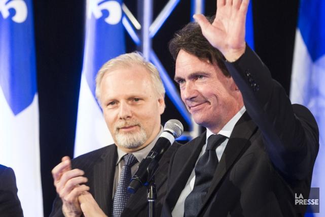 Jean-François Lisée et Pierre Karl Péladeau en avril... (PHOTO OLIVIER PONTBRIAND, ARCHIVES LA PRESSE)