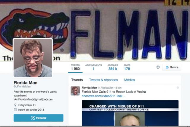 «Florida Man» ason propre compte Twitter. Un mot-clic... (Capture d'écran tirée de Twitter)