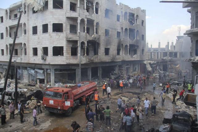 «Des avions militaires ont commis un massacre en... (PHOTO OMAR HAJ KADOUR, AGENCE FRANCE-PRESSE)