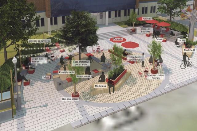 La petite place publique devant la bibliothèque municipale... (Croquis fourni par la SDC Maguire)
