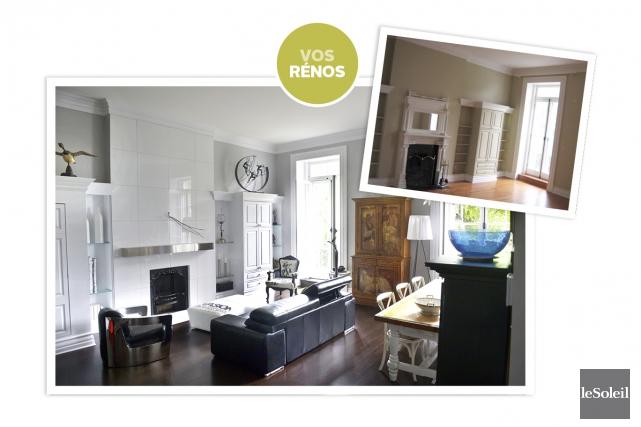 Le salon, avant et après les rénovations... (Infographie, Le Soleil)