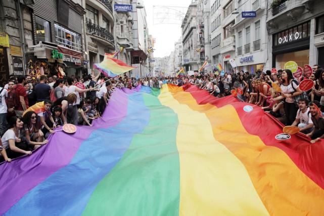 Des participants au défilé de la fierté gaie... (PHOTO GURCAN OZTURK, ARCHIVES AFP)