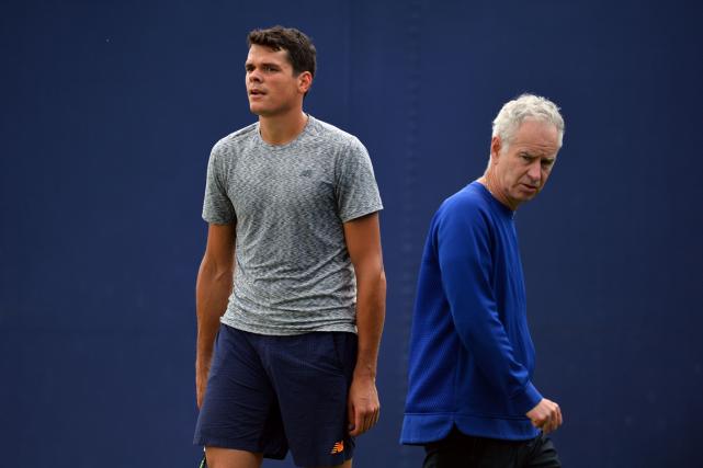 Milos Raonic s'est qualifié pour la demi-finale au... (Glyn Kirk, AFP)
