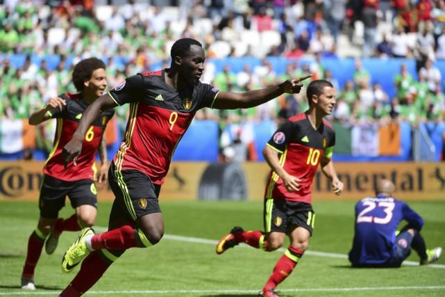 Romelu Lukaku (9) a marqué deux fois pourles... (PHOTO EMMANUEL DUNAND, AFP)