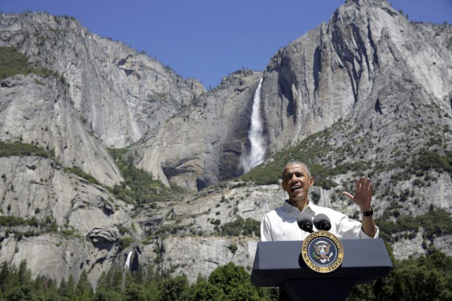 Barack Obama a prononcé un discours au Parc national... (PHOTO JOSHUA ROBERTS, REUTERS)