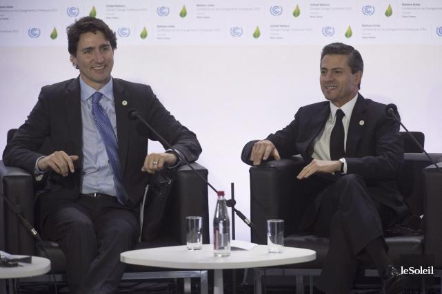 Les premiers ministres canadien et mexicain, Justin Trudeau... (Photothèque Le Soleil)