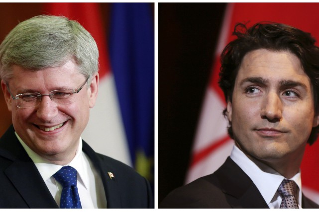 Stephen Harper et Justin Trudeau.... (Photo archives Reuters)